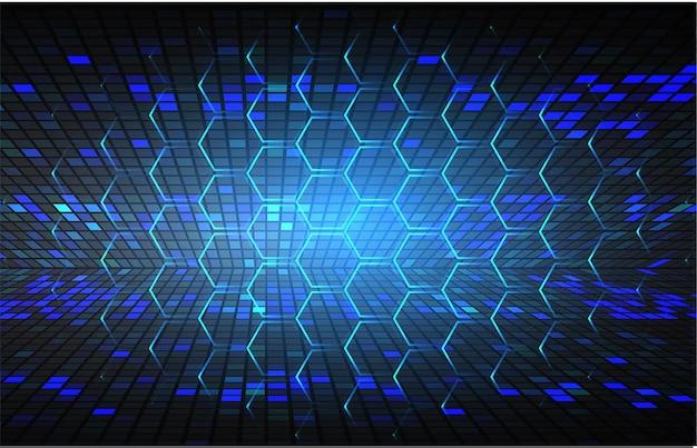 Fondo blu di concetto di tecnologia del circuito cyber di esagono blu