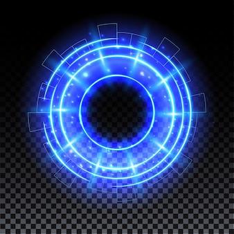 Portale ologramma blu teletrasporto scifi magico bagliore blu con scintille e sfondo tecnologico ologramma