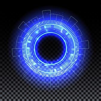 Portale ologramma blu cerchio magico effetto alone blu bagliore scifi teletrasporto con scintille e ologramma