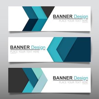 Modello di layout di banner orizzontale business blu.