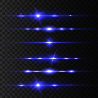 Raggi laser orizzontali blu, bellissimi bagliori di luce.