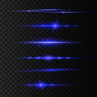 Pacchetto riflettori lenti orizzontali blu, raggi laser, splendidi bagliori di luce. raggi di luce. linea luminosa, bagliore luminoso. striature luminose. spumante astratto luminoso.