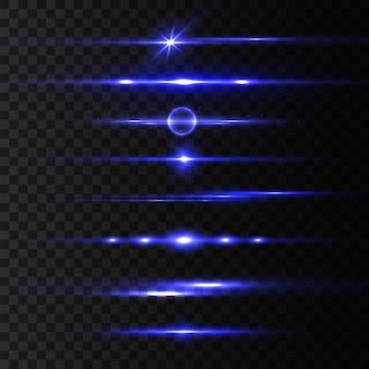Pacchetto riflettori lenti orizzontali blu, raggi laser, splendidi bagliori di luce. raggi di luce. linea bagliore su sfondo trasparente, bagliore luminoso. striature luminose. spumante astratto luminoso. illustrazione