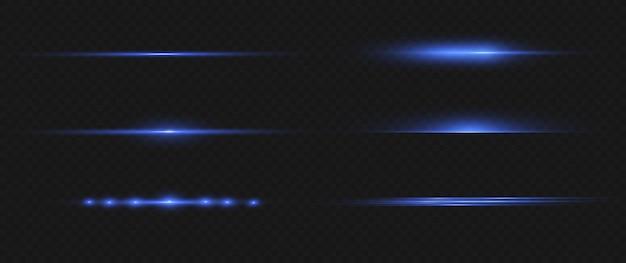 Lenti orizzontali blu flares pack