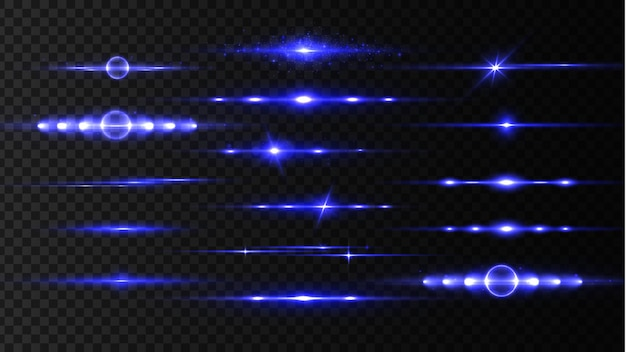 Set di razzi di lenti orizzontali blu, raggi laser, bellissimi bagliori di luce.