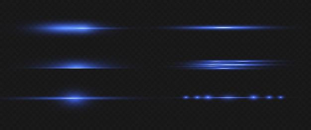 Set di razzi di lenti orizzontali blu. il laser emette raggi luminosi orizzontali