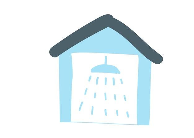 Una casa blu con un segno di doccia simbolo dell'autolavaggio illustrazione vettoriale di scarabocchio del fumetto del disegno della mano