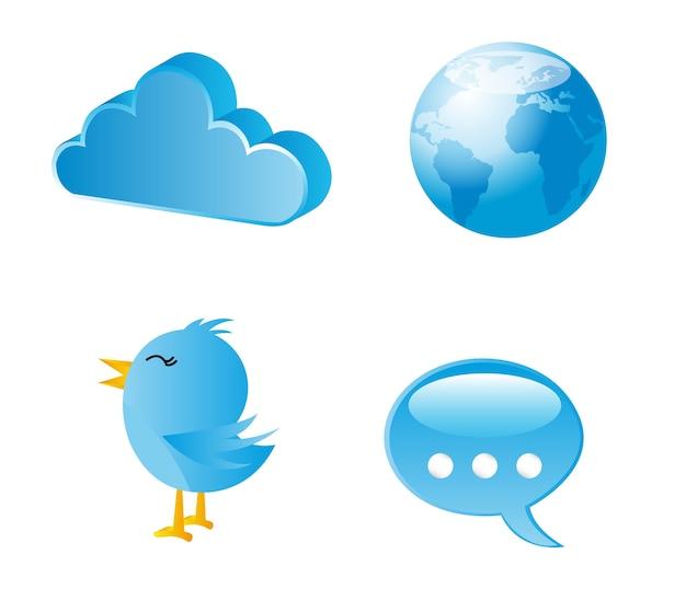 Comunicazione blu delle icone sopra l'illustrazione bianca di vettore del fondo