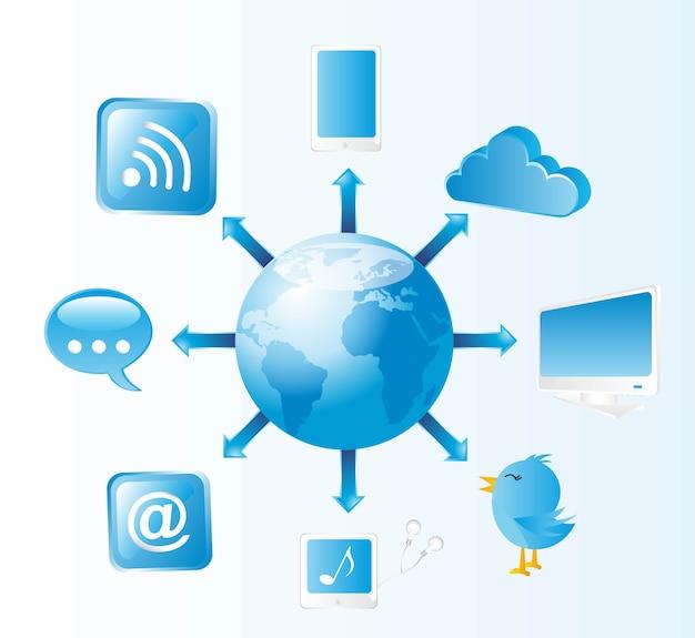 Comunicazione blu delle icone con l'illustrazione di vettore del pianeta