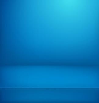 Stanza illuminata blu.
