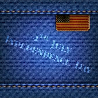 Sfondo di jeans blu con etichetta in pelle e la scritta independence day