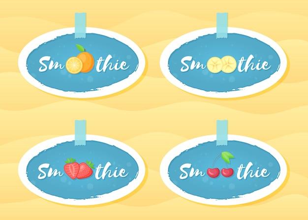 Progettazione blu di vettore di frullato di frutta del frullato dell'insieme di etichetta