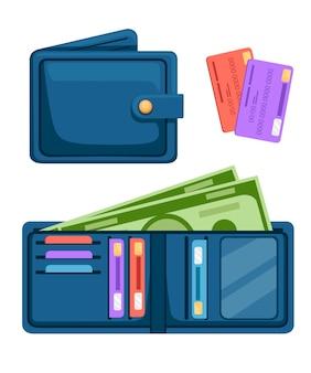 Portafoglio in pelle blu con carte e contanti aperti e portafogli chiusi