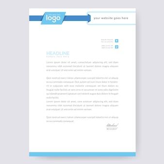 Design di carta intestata blu Vettore Premium