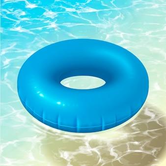 Salvagente blu che galleggia sull'oceano libero nell'illustrazione 3d