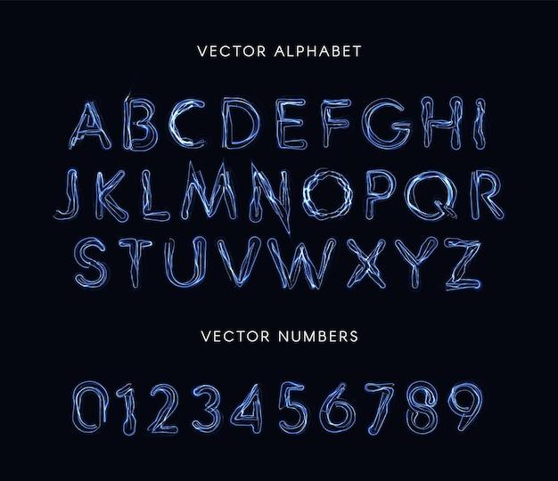Set di lettere e numeri in stile fulmine blu. carattere insolito al plasma, alfabeto delle linee elettriche, abc magico. composizione vettoriale.