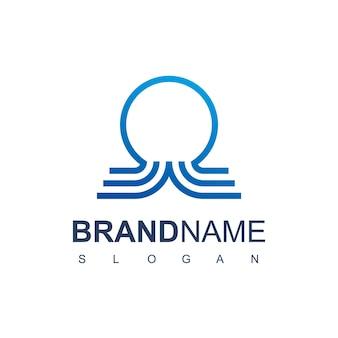 Modello di progettazione del logo del polpo della linea blu