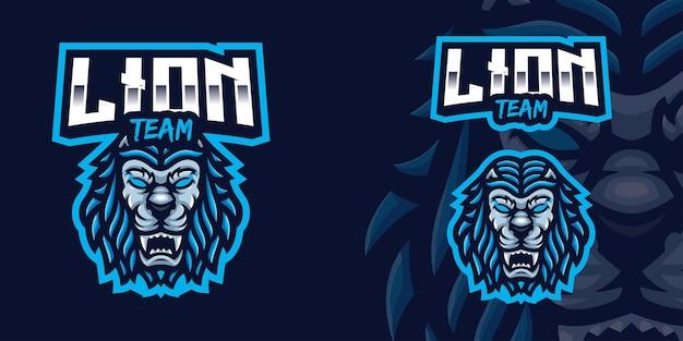 Logo della mascotte del gioco del leone blu per lo streamer e la community di esports