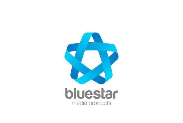 Icona blu con logo a nastro in loop.