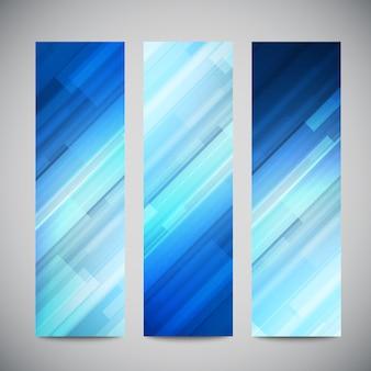 Banner verticale blu poli basso impostato con linee astratte poligonali. astratto sfondo luminoso poligonale.