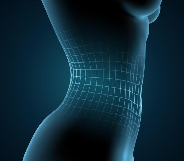 Sagoma luminosa blu di un corpo femminile