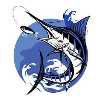 Disegno di pesca del marlin blu