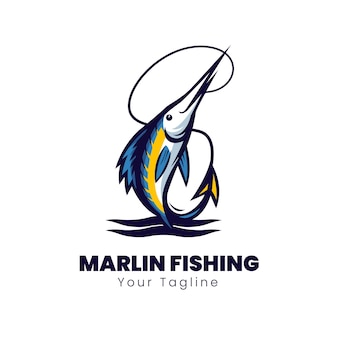 Design del logo per la pesca del marlin blu