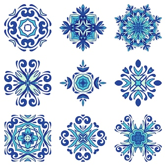 Collezione di piastrelle mediterranee blu. set di ornamento mandala art. decorazione in ceramica bundle