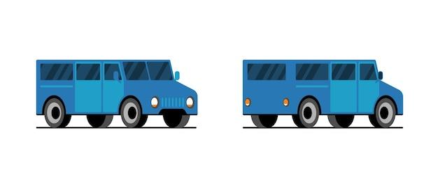 Vista frontale del lato posteriore del minibus blu. consegna auto minivan. illustrazione del veicolo di trasporto vettoriale