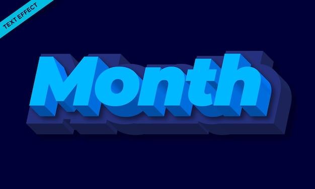 Effetto testo 3d mese blu