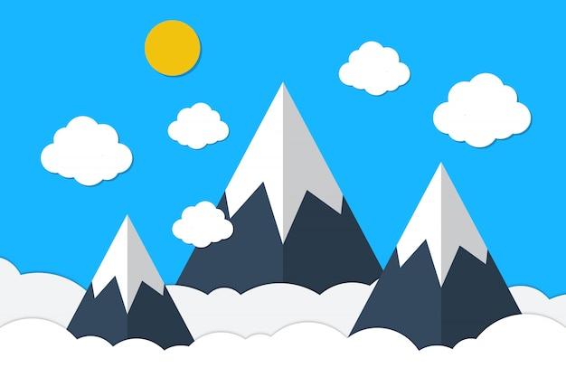 Montagne e nuvole blu del cielo nello stile di carta