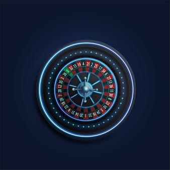 Ruota della roulette del casinò al neon blu, vista dall'alto