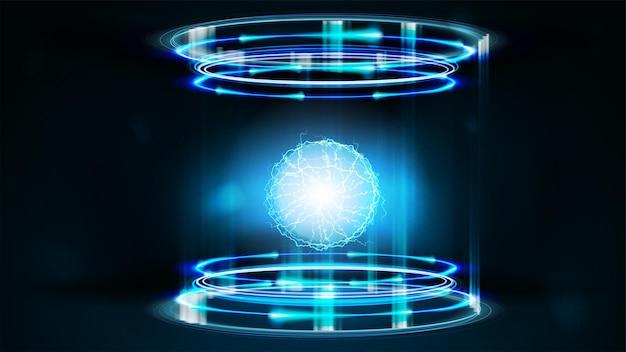 Portale digitale al neon blu di forma cilindrica con anelli lucidi e sfera energetica all'interno