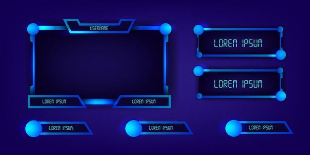 Pannelli cornice esport per giochi in streaming live al neon blu moderna tecnologia cyber futuristico display elegante