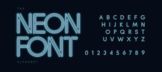 L'alfabeto del tubo al neon blu ha condotto il tipo di luce elettrica del carattere di contorno per il titolo del logo futuristico moderno