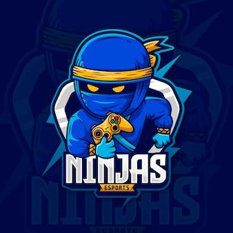 Personaggio assassino di disegno di gioco del logo della mascotte della tempesta di ninja blu