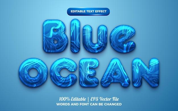 Marmo blu oceano cromato effetto testo modificabile in grassetto 3d