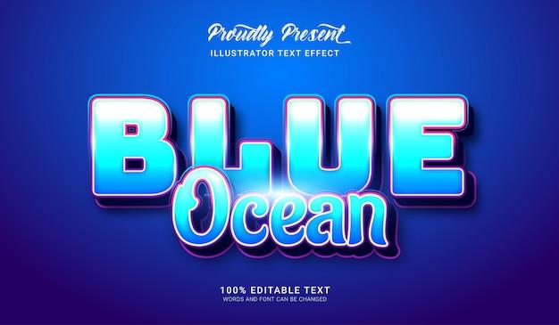 Effetto stile testo blu oceano. effetto di testo modificabile