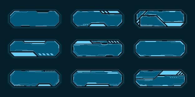 Cornice blu ottagono imposta interfaccia futura tecnologia hud