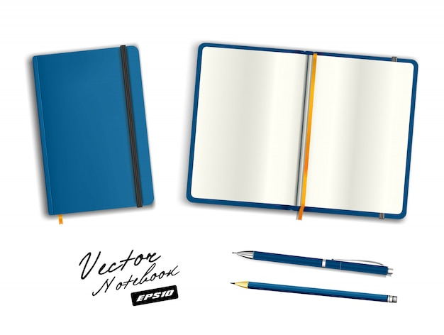 Modello blu quaderno aperto e chiuso con elastico e segnalibro. penna e matita blu ceruleo di cancelleria realistica. illustrazione del taccuino su fondo bianco.