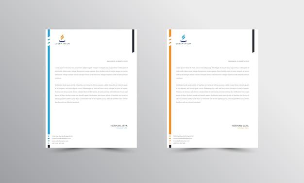 Modello di carta intestata abtract blu e arancione
