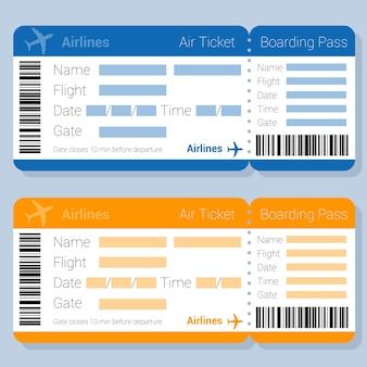 Biglietto aereo blu e arancione e carta d'imbarco