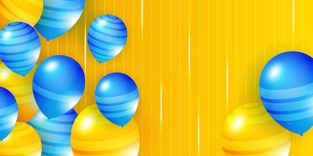 Illustrazione vettoriale di palloncini arancioni blu modello di sfondo di celebrazione banner di celebrazione con...