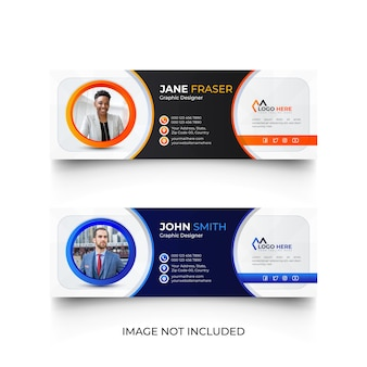 Modello di firma e-mail blu e arancione o set di modelli di copertina social media piè di pagina e-mail