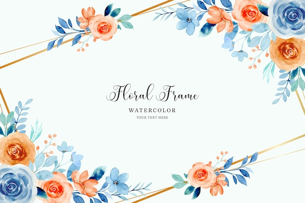 Cornice di fiori di rosa arancione blu con acquerello