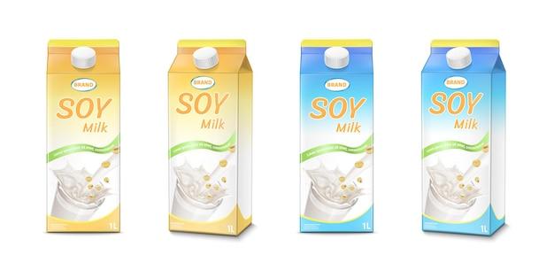 Vettore di latte di soia blu e arancione realistico