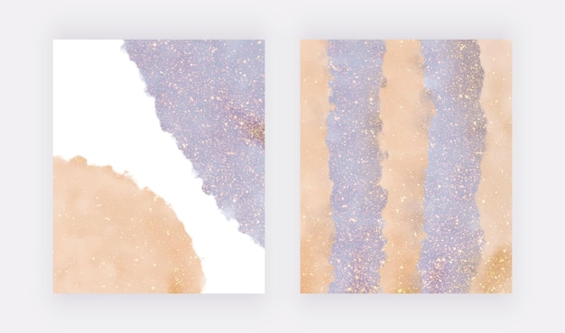 Spruzzi di acquerelli blu e arancioni con texture glitter