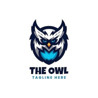 Modello di logo esport gufo blu con stile moderno