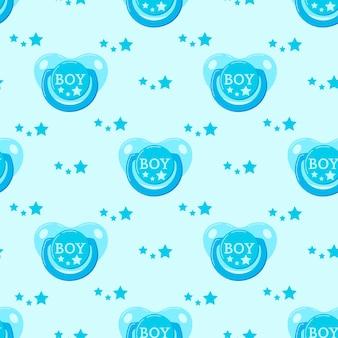 Reticolo senza giunte di vettore blu ciuccio bambino manichino. ciuccio neonato con stelle per ragazzo. trama infinita. sfondo in stile cartone animato design piatto per web, copertine, striscioni, decorazioni, design per bambini.