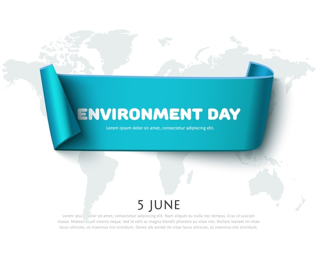 Bandiera del nastro di carta blu per la progettazione della giornata mondiale dell'ambiente con mappa isolata su bianco. concetto di giorno dell'ambiente, eco design